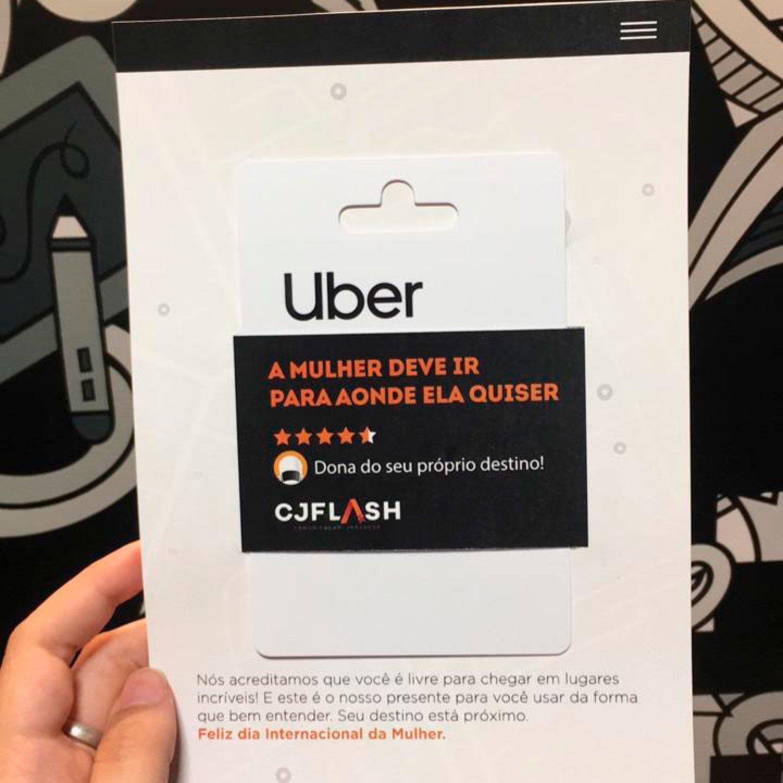 Com mensagem inspiradora, mulheres da CJFlash são presenteadas com cartão da Uber